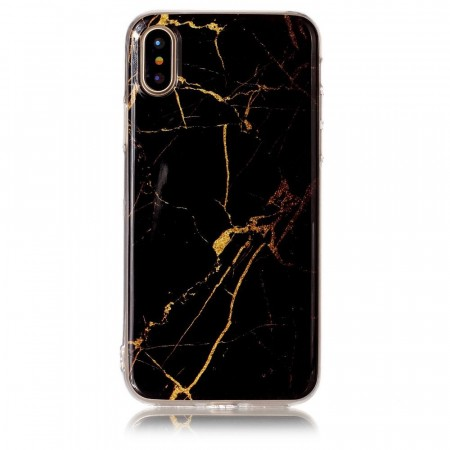 TPU Deksel for iPhone X/XS - Marmor svart