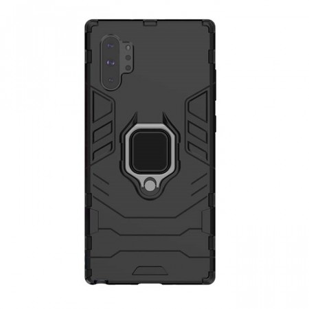 Armor TPU + PC Deksel med Ring Grep Galaxy Note10+ Plus svart