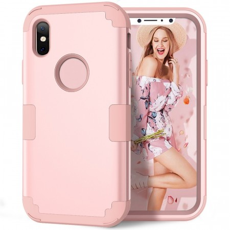Hybrid TPU + PC Deksel iPhone X/XS rosa