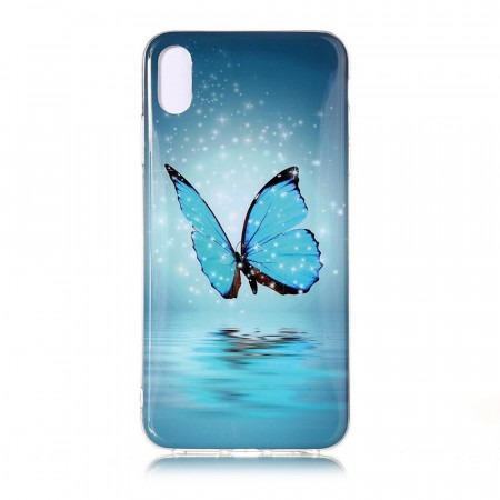 TPU Deksel iPhone X/XS - Blue Butterfly