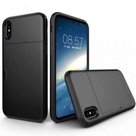 Hybrid TPU + PC Deksel plass til kort iPhone X/XS svart