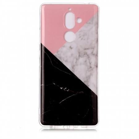 TPU Deksel for Nokia 7 Plus - Rosa/Svart Marmor