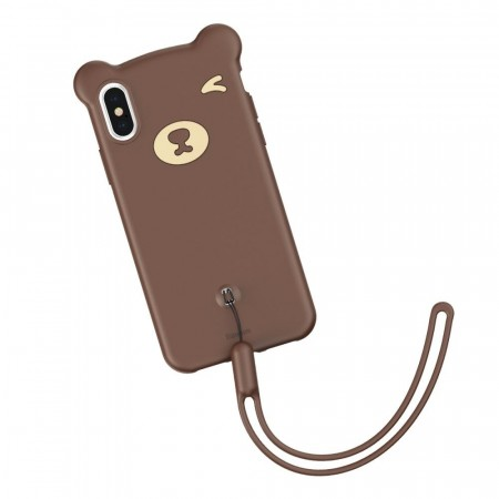 iPhone XS Max Cute Bear Silikon Deksel - Brun