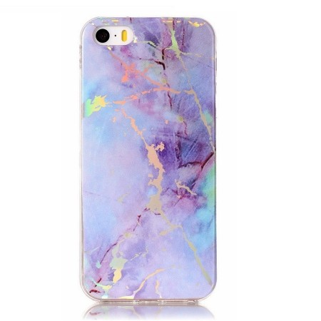 TPU Deksel for iPhone 5S/5/SE (2016) - Rainbow Lightning Marmor