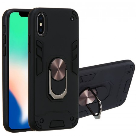 Hybrid TPU + PC Deksel med Ring Grep iPhone X/XS svart