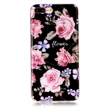 TPU Deksel iPhone 7 Plus/8 Plus - Rosa Blomster