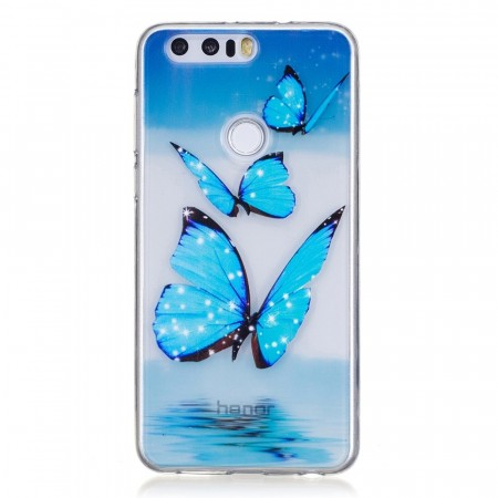 TPU Deksel Huawei Honor 8 - Blue Butterfly