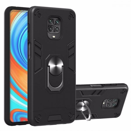 Armor TPU + PC Deksel med Ring Grep Xiaomi Redmi Note 9 Pro / Note 9S svart