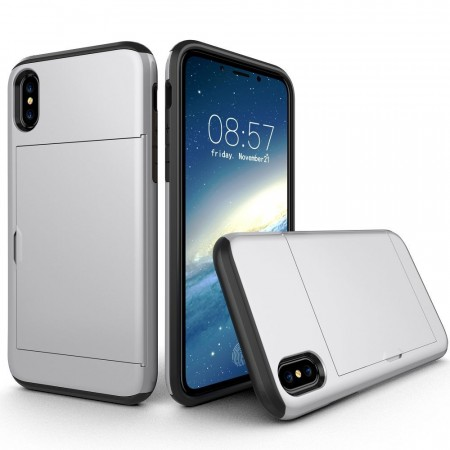 Hybrid TPU + PC Deksel iPhone X/XS sølv