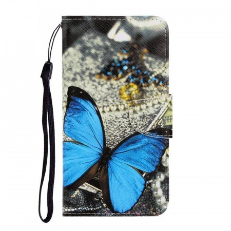 Lommebok deksel til iPhone X/XS - Blue Butterfly