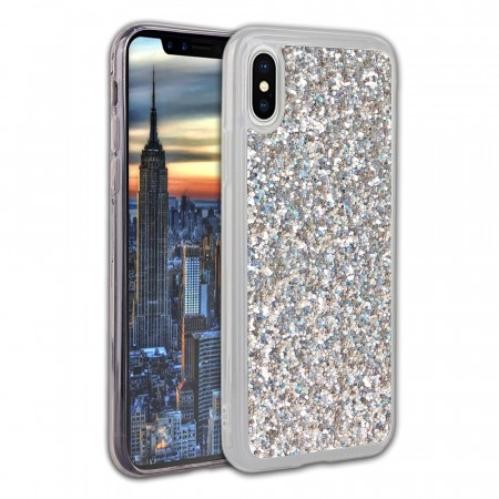 TPU Deksel Bling Glitter for iPhone X/XS - sølv