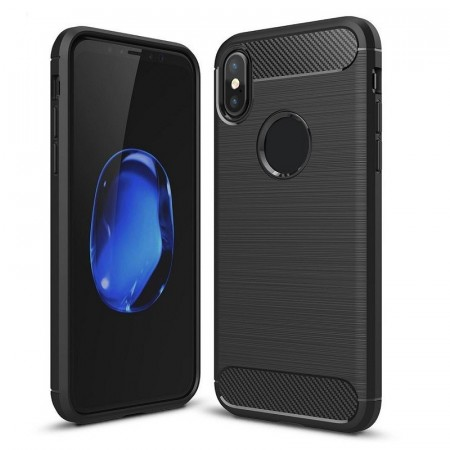 TPU Deksel Carbon iPhone X/XS svart