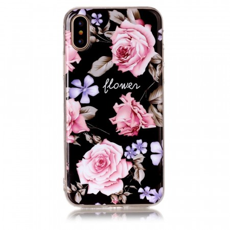 TPU Deksel for iPhone X/XS  - Rosa Blomster