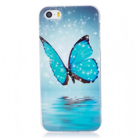 TPU Deksel iPhone 5S/5/SE (2016) - Blue Butterfly